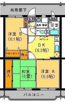 ユーミー遠田 102号室の間取り図