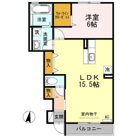 アクイールB棟 B102号室の間取り図