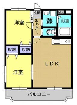 サワーオレンジII 102号室の間取り図