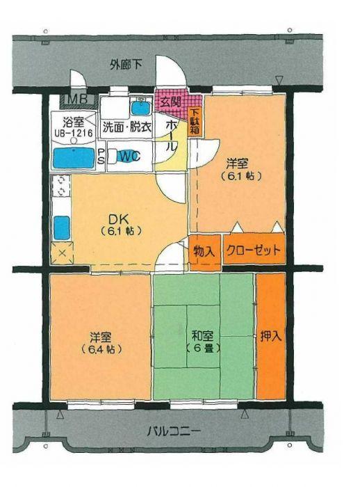 ユーミー遠田 303号室の間取り図