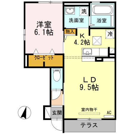 角井田ハウス 101号室の間取り図