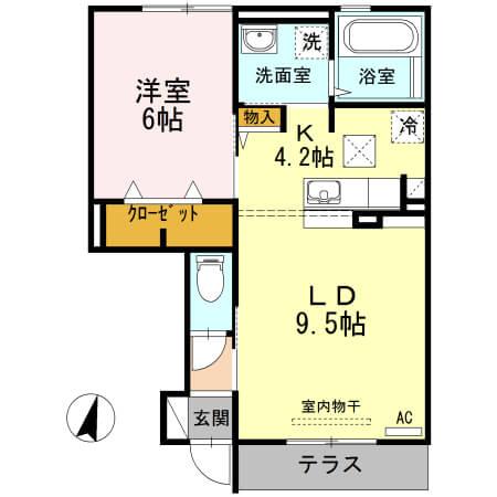 角井田ハウス 102号室の間取り図
