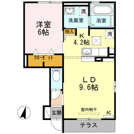 角井田ハウス 105号室の間取り図
