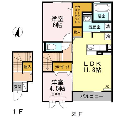 角井田ハウス 203号室の間取り図