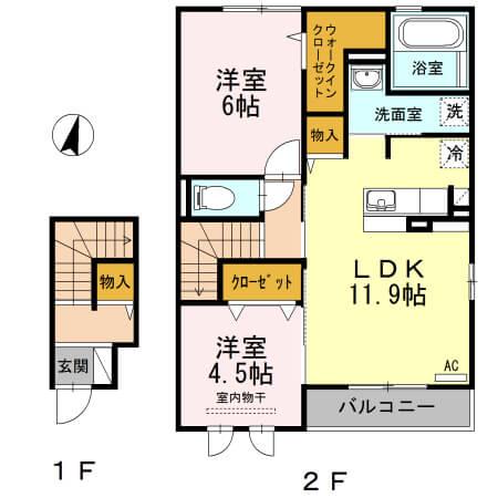 角井田ハウス 205号室の間取り図