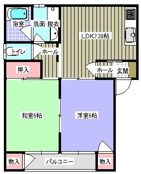 アークステイ 201号室の間取り図