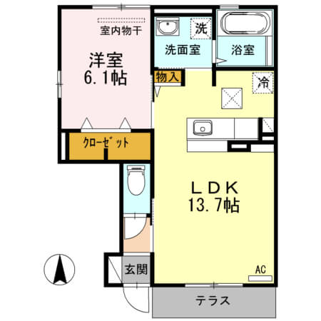 ハイツ・ナシノキII 101号室の間取り図