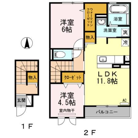 ハイツ・ナシノキII 202号室の間取り図