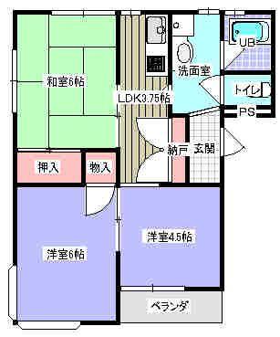 コスモスB 102号室の間取り図