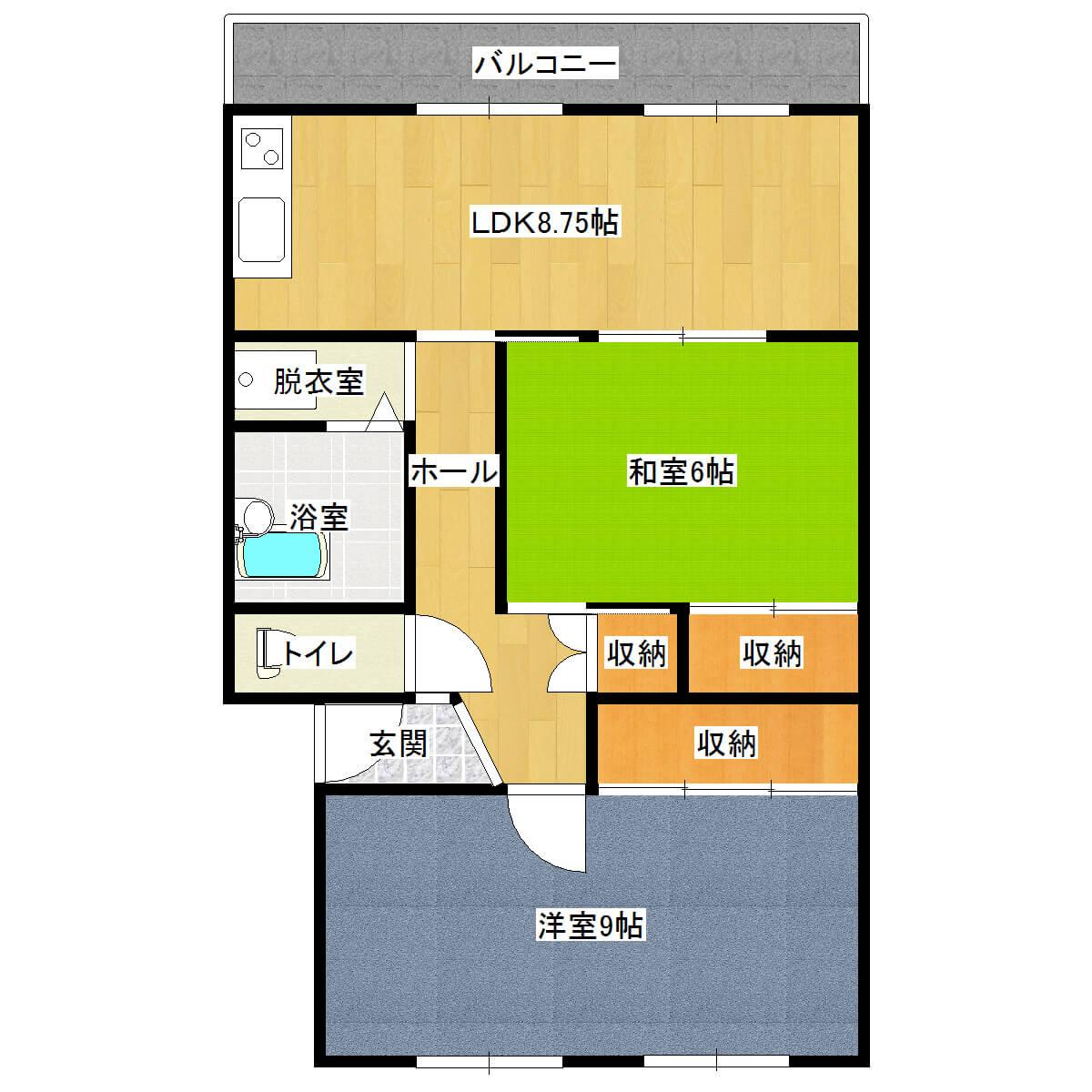 いきいきAKAGI 303号室の間取り図