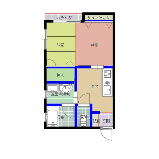 パレスフラワー湖月II 202号室の間取り図