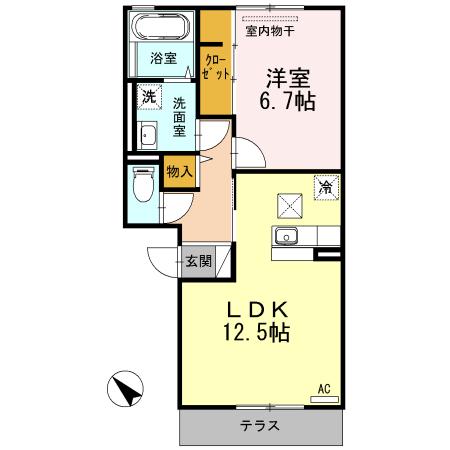 パルカディア乙吉 102号室の間取り図