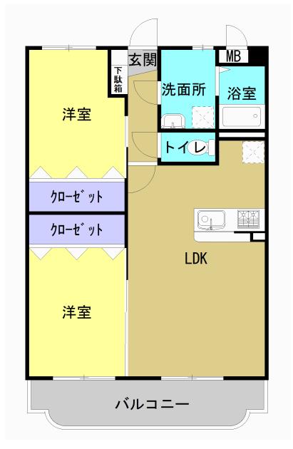 エコーズガーデンII 202号室の間取り図