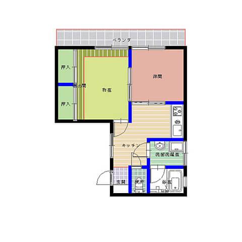 コーポフラワー湖月 201号室の間取り図