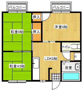 サンライズプラザⅠ 202号室の間取り図