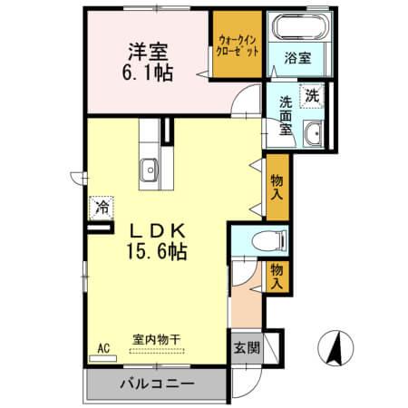 アクイールB棟 101号室の間取り図