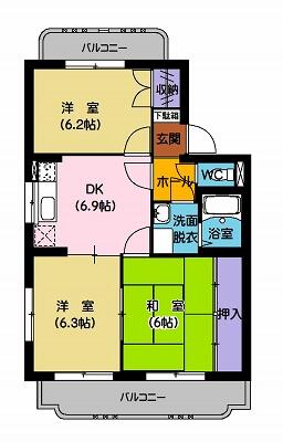 ユーミー横田 201号室の間取り図