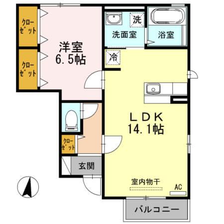 アクイールB棟 103号室の間取り図