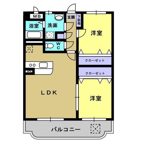 サワーオレンジ 102号室の間取り図