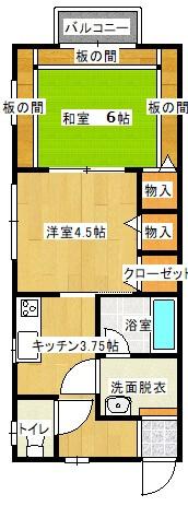 パレスフラワー湖月III 201号室の間取り図