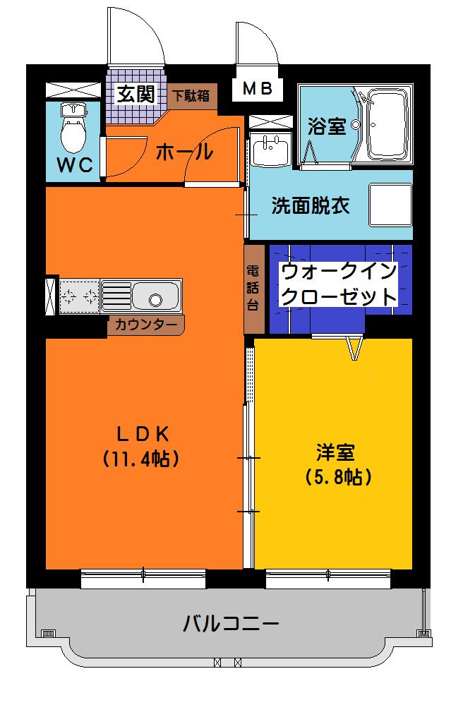 サワーオレンジIII 101号室の間取り図