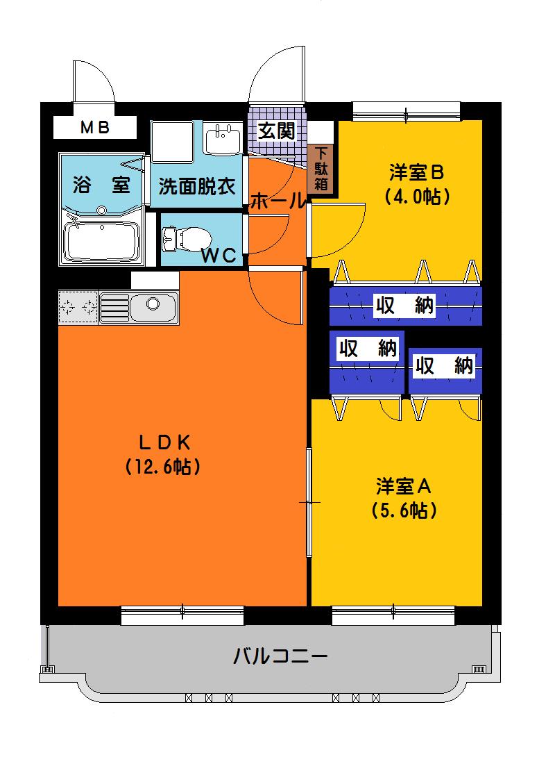 コンフィデンス 103号室の間取り図