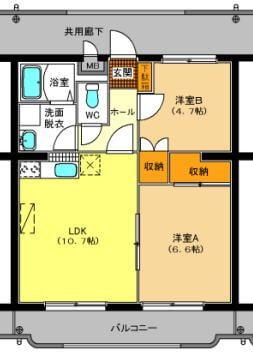 ベルフラワー 102号室の間取り図