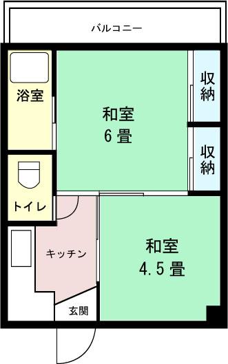 ビレッジハウス高津2号棟 102号室の間取り図