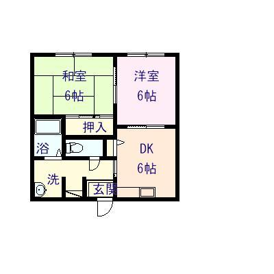 グリーンヒルズB 202号室の間取り図
