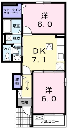 ソレアード緑ヶ丘A 105号室の間取り図