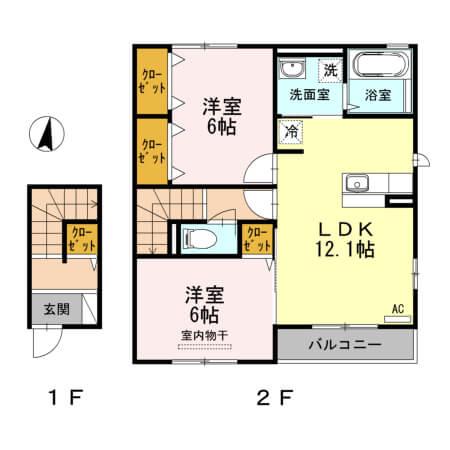 アクイールB棟 203号室の間取り図