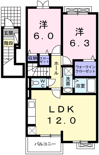 サンシャイン高津 202号室の間取り図