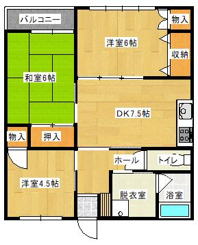 タウンナウII 206号室の間取り図