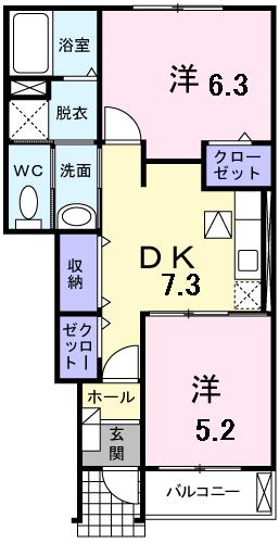 グリーンヒルズIII 102号室の間取り図