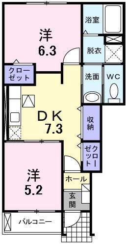 グリーンヒルズIII 103号室の間取り図