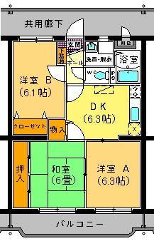 ユーミー遠田 202号室の間取り図