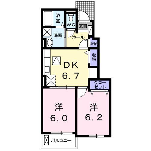 エバーグリーン松ヶ丘 103号室の間取り図