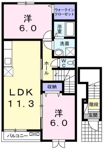 ソレアード緑ヶ丘B 203号室の間取り図