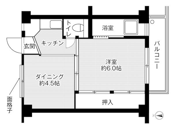 ビレッジハウス高津2号棟 308号室の間取り図
