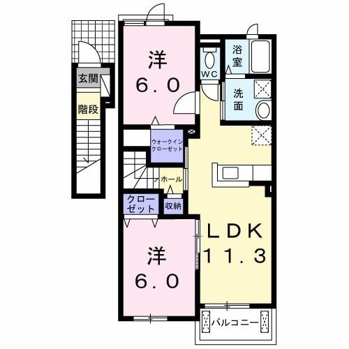 ブレッザ・ディ・マーレII 202号室の間取り図