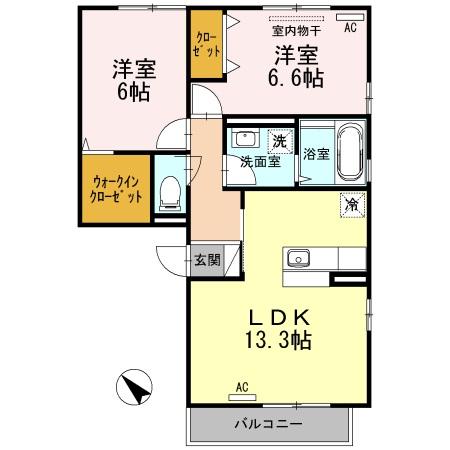パルカディア乙吉 303号室の間取り図