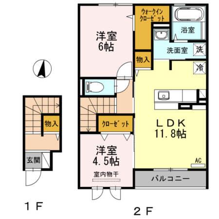 エンテ・インゼル 202号室の間取り図