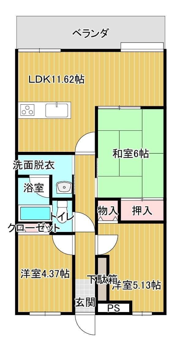 ラ・ミューズ21 702号室の間取り図