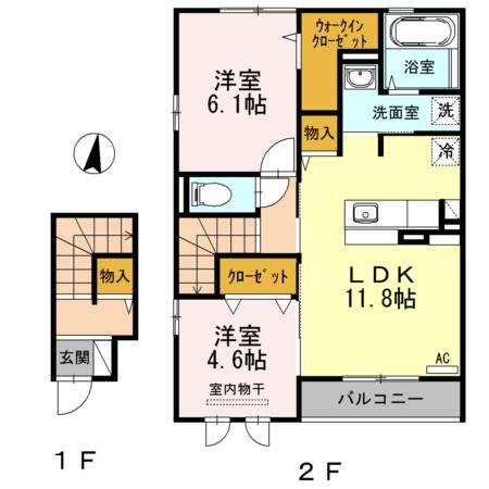 エンテ・インゼル 201号室の間取り図