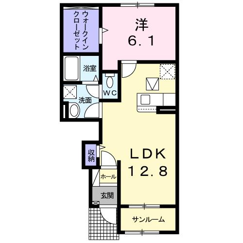 ドエルF・T・K Ⅲ番館 102号室の間取り図