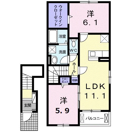 ドエルF・T・K Ⅲ番館 203号室の間取り図