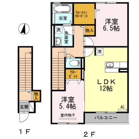 アクイールB棟 202号室の間取り図