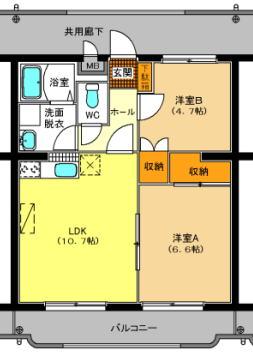 ベルフラワー 203号室の間取り図