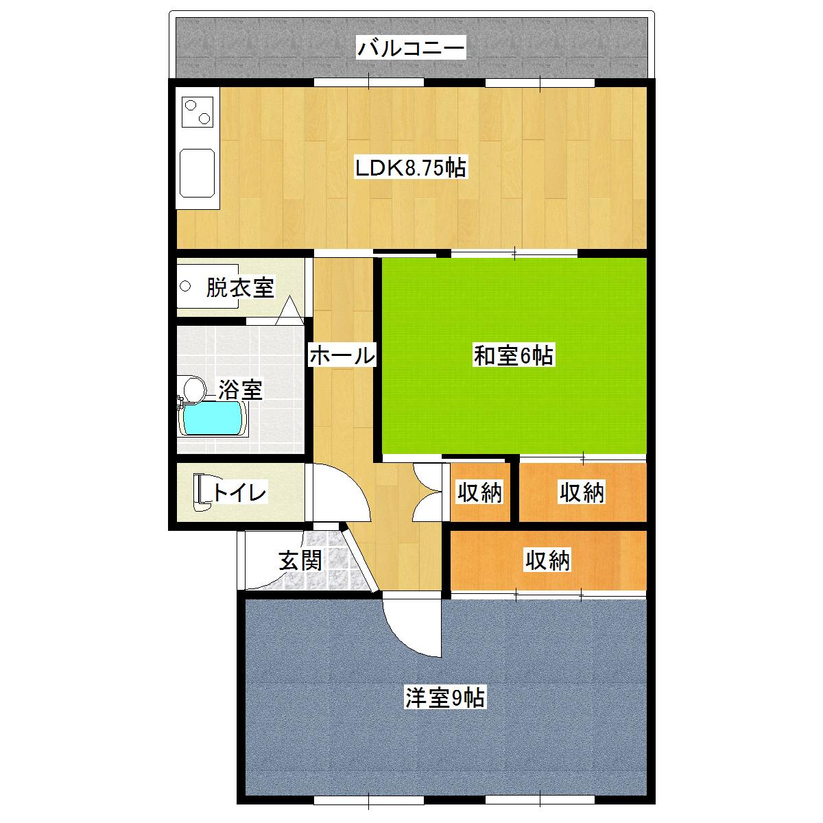 いきいきAKAGI 405号室の間取り図