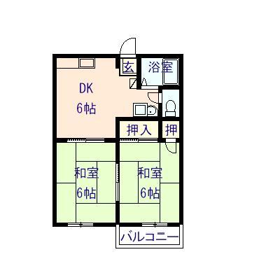 鶏鳴荘 201号室の間取り図
